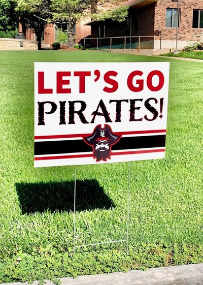 YARD SIGN LETS GO PIRATES WITH METAL HOLDER