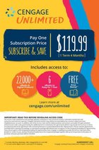 CENGAGE UNLIMITED 4 MONTH ACCESS CODE w/e-Book