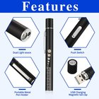 PENLIGHT RECHARGEABLE BUILT IN USB TWO LED LIGHTS STAINLESS STEEL BODY